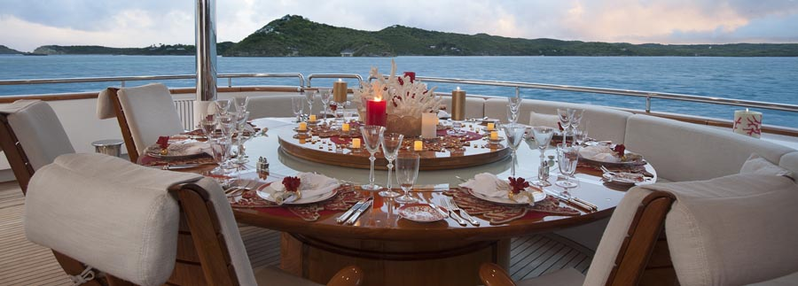 fine dining on motor yacht starfire